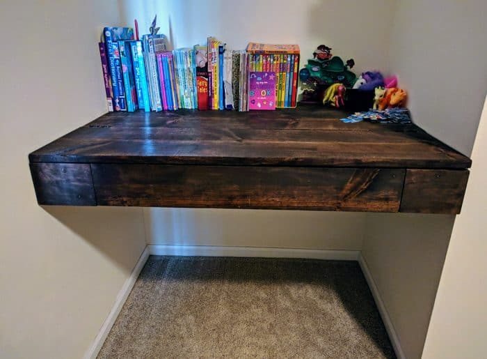 finished floating wall desk